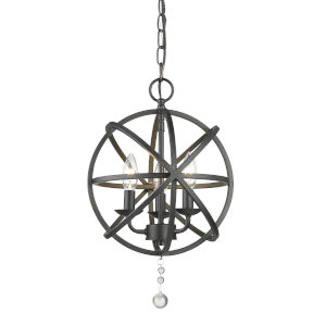 Tull Matte Black Three-Light Chandelier