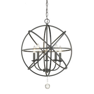 Tull Matte Black Five-Light Chandelier