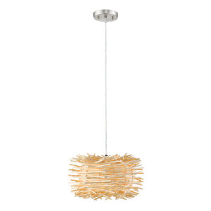 Sora Brushed Nickel and Natural One-Light Pendant