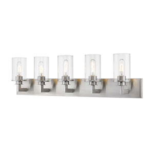 Savannah Brushed Nickel Five-Light Bath Vanity
