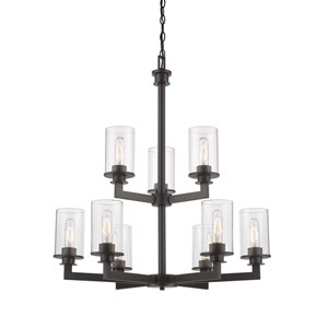 Savannah Bronze Nine-Light Chandelier