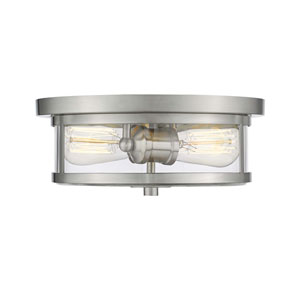 Savannah Brushed Nickel 11-Inch Two-Light Flush Mount