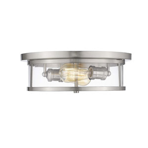 Savannah Brushed Nickel 13-Inch Two-Light Flush Mount