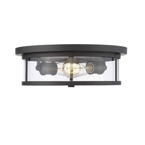 Savannah Bronze 13-Inch Two-Light Flush Mount