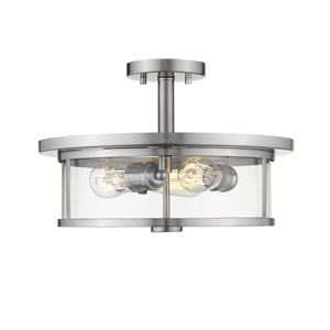 Savannah Brushed Nickel 15-Inch Three-Light Semi-Flush Mount