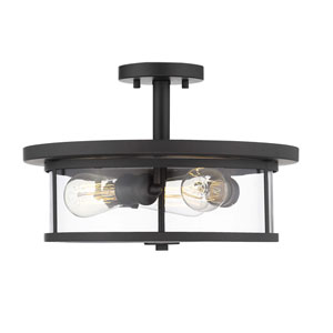Savannah Black Brushed Nickel 15-Inch Three-Light Semi-Flush Mount
