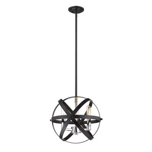Cavallo Hammered Black and Chrome Three-Light Pendant