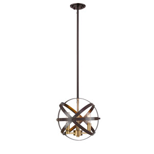 Cavallo Hammered Bronze and Olde Brass Three-Light Pendant
