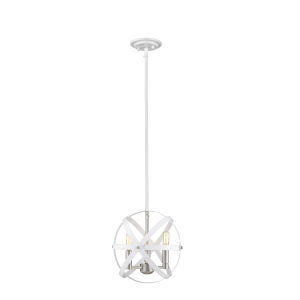 Cavallo Hammered White and Brushed Nickel Three-Light Chandelier