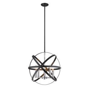 Cavallo Hammered Black and Chrome Five-Light Pendant
