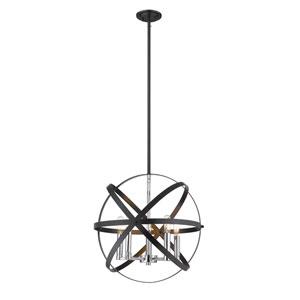 Cavallo Hammered Black and Chrome Five-Light Pendant