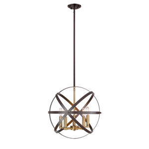 Cavallo Hammered Bronze and Olde Brass Five-Light Pendant