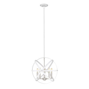 Cavallo Hammered White and Brushed Nickel Five-Light Chandelier
