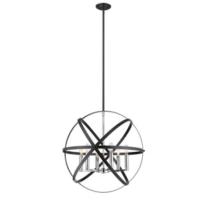 Cavallo Hammered Black and Chrome Six-Light Pendant