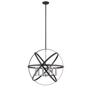 Cavallo Hammered Black and Chrome Six-Light Pendant