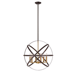 Cavallo Hammered Bronze and Olde Brass Six-Light Pendant