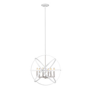 Cavallo Hammered White and Brushed Nickel Six-Light Chandelier