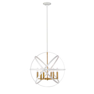 Cavallo Hammered White and Olde Brass Six-Light Pendant
