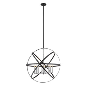 Cavallo Hammered Black and Chrome Eight-Light Pendant
