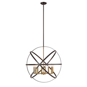 Cavallo Hammered Bronze and Olde Brass Eight-Light Pendant