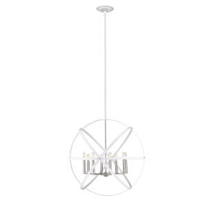 Cavallo Hammered White and Brushed Nickel Eight-Light Chandelier