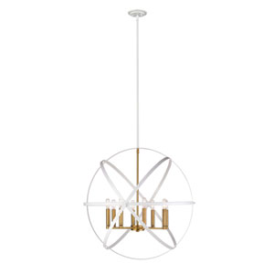 Cavallo Hammered White and Olde Brass Eight-Light Pendant