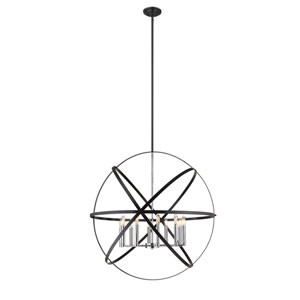 Cavallo Hammered Black and Chrome 10-Light Pendant