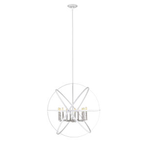 Cavallo Hammered White and Brushed Nickel 10-Lihgt Chandelier