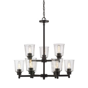 Bohin Matte Black Nine-Light Chandelier