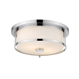 Savannah Chrome 15-Inch Three-Light Flush Mount with Matte Opal Glass
