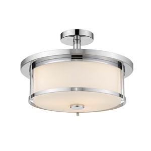 Savannah Chrome 15-Inch Three-Light Semi-Flush Mount with Matte Opal Glass