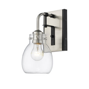Kraken Matte Black and Brushed Nickel One-Light Wall Sconce With Transparent Glass