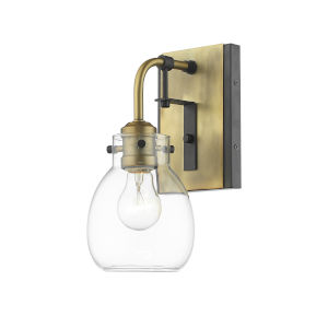 Kraken Matte Black and Olde Brass One-Light Wall Sconce With Transparent Glass