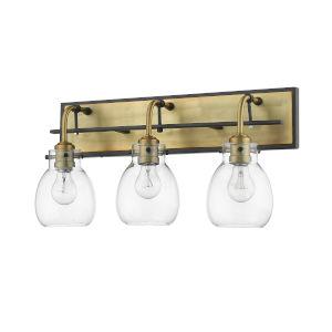 Kraken Matte Black and Olde Brass Three-Light Vanity With Transparent Glass