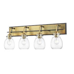 Kraken Matte Black and Olde Brass Four-Light Vanity With Transparent Glass