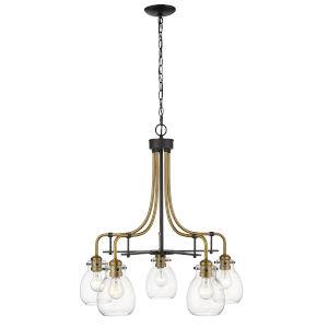 Kraken Matte Black and Olde Brass Five-Light Chandelier With Transparent Glass