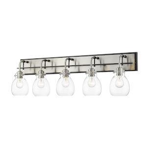 Kraken Matte Black and Brushed Nickel Five-Light Vanity With Transparent Glass