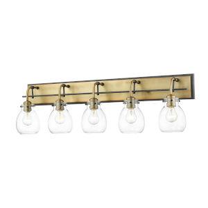 Kraken Matte Black and Olde Brass Five-Light Vanity With Transparent Glass