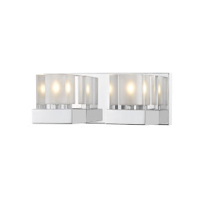 Fallon Chrome Two-Light Vanity With Transparent + Frosted Crystal