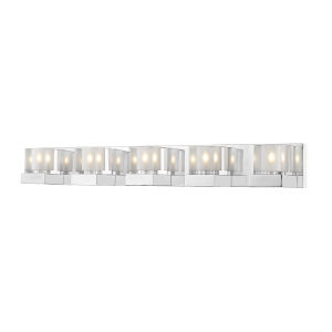 Fallon Chrome LED Five-Light Vanity With Transparent + Frosted Crystal