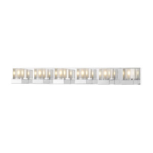 Fallon Chrome LED Six-Light Vanity With Transparent + Frosted Crystal