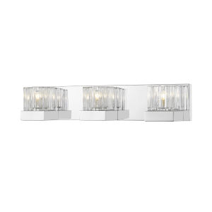 Fallon Chrome Three-Light Vanity With Transparent Ribbed + Frosted Crystal