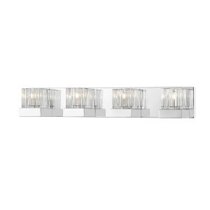 Fallon Chrome Four-Light Vanity With Transparent Ribbed + Frosted Crystal