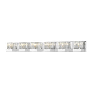 Fallon Chrome LED Six-Light Vanity With Transparent Ribbed + Frosted Crystal
