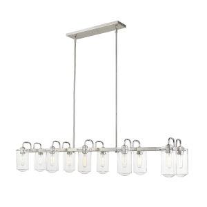 Delaney Brushed Nickel 10-Light Pendant With Transparent Glass