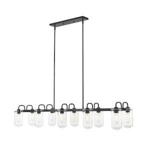 Delaney Matte Black 10-Light Pendant With Transparent Glass