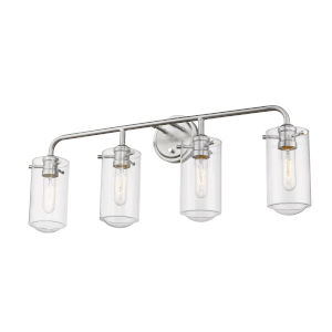 Delaney Brushed Nickel Four-Light Vanity With Transparent Glass