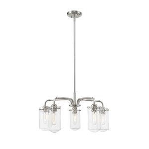 Delaney Brushed Nickel Five-Light Chandelier With Transparent Glass