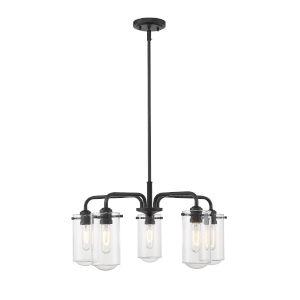 Delaney Matte Black Five-Light Chandelier With Transparent Glass