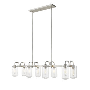 Delaney Brushed Nickel Eight-Light Pendant With Transparent Glass